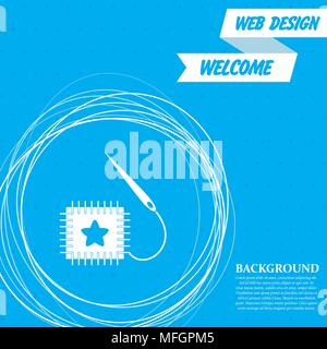 patch icon on a blue background with abstract circles around and place for your text. Vector illustration - Stock Photo