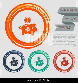 Piggy bank and dollar coin icon on the red, blue, green, orange buttons for your website and design with space text. Vector illustration - Stock Photo