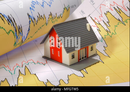 model house standing on financial business chart - Stock Photo