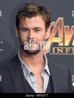 LOS ANGELES, CA - APRIL 23: Actor Chris Hemsworth attends the World Premiere of Disney and Marvels 'Avengers: Infinity War' on April 23, 2018 in Los Angeles, California. Photo by Barry King/Alamy Live News - Stock Photo