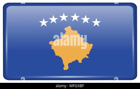 Flags of Kosovo in the form of a magnet on refrigerator with reflections light. Vector illustration - Stock Photo