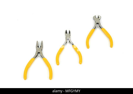 Diagonal-Cutting Pliers,End-Cutting Pliers ,Side-Cutting Pliers on the white background - Stock Photo
