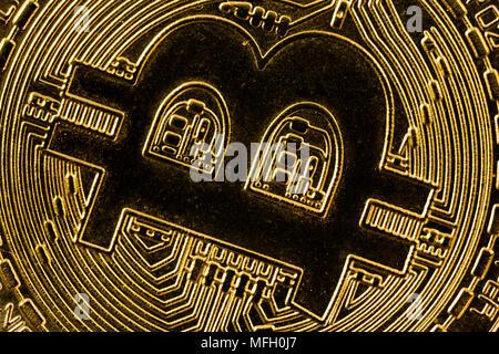 Virtual cryptocurrency money Bitcoin golden coin super macro photography. - Stock Photo