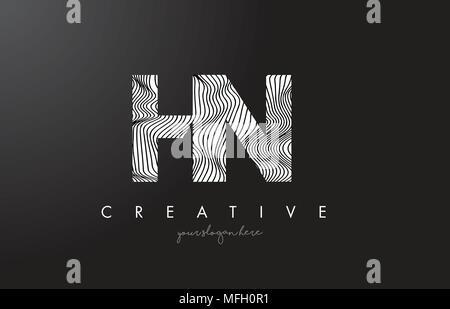 HN H N Letter Logo with Zebra Lines Texture Design Vector Illustration. - Stock Photo