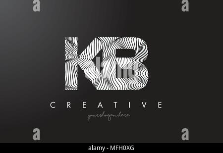KB K B Letter Logo with Zebra Lines Texture Design Vector Illustration. - Stock Photo
