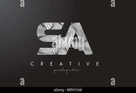 SA S A Letter Logo with Zebra Lines Texture Design Vector Illustration. - Stock Photo