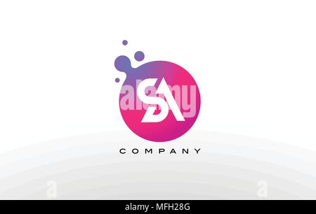 SA Letter Dots Logo Design with Creative Trendy Bubbles and Purple Magenta Colors. - Stock Photo