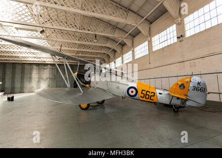 Duxford Air Museum. England, UK.  A Hawker Nimrod II on display in an aircraft hanger. - Stock Photo