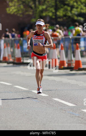 Liz Costello from the USA during the Virgin Money London Marathon 2018. Image captured on The Highway, London E1W. - Stock Photo