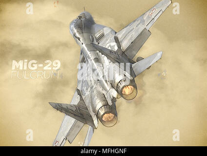 Rear and top angle view of a specially decorated MiG-29 of the Polish AIr Force display team honouring WWII hero pilots taking off on full afterburner - Stock Photo