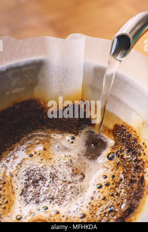 Drip brewing filtered coffee - Stock Photo