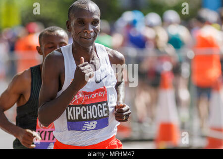 Winner of the Virgin Money London Marathon 2018. Eluid Kipchoge followed by second place finisher. - Stock Photo