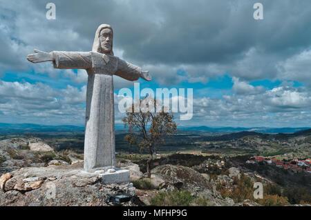 Christ Statue in Monsanto Mountains. Castelo Branco, Portugal - Stock Photo