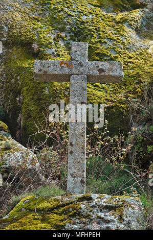 Antique stone cross in Monsanto. Portugal - Stock Photo