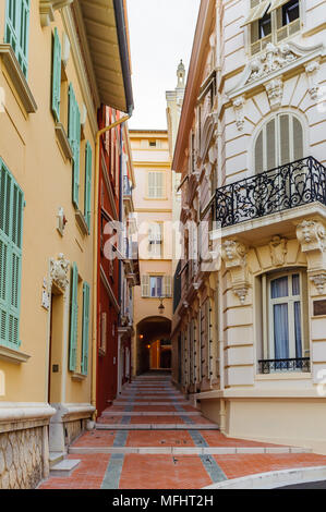Beautiful architecture of Monaco. Principality of Monaco is the second smallest and the most densely populated country in the world - Stock Photo