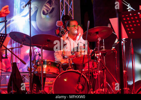 Drummer performing at the Dominican Republic Jazz Festival