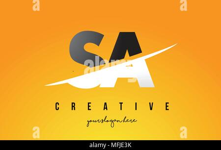 SA S A Letter Modern Logo Design with Swoosh Cutting the Middle Letters and Yellow Background. - Stock Photo