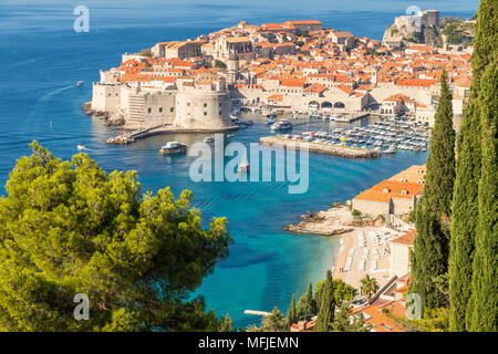 High-angle view over the old town of Dubrovnik and Banje Beach, Dubrovnik, Croatia, Europe - Stock Photo