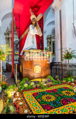Vigil on Holy Thursday during the Holy Week 2017 inside the Cathedral San Jose in Antigua, Guatemala, Central America - Stock Photo
