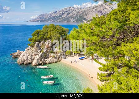 The famous Podrace Beach near Brela and Makarska, Croatia, Europe - Stock Photo