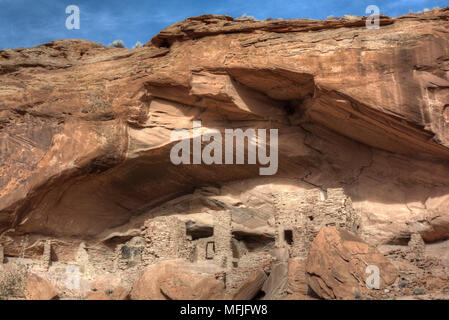 River House Ruin, Ancestral Puebloan Cliff Dwelling, 900-1300 AD, Shash Jaa National Monument, Utah, United States of America, North America - Stock Photo
