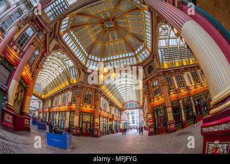 Fisheye view of interior of Leadenhall Market, The City, London, England, United Kingdom, Europe - Stock Photo