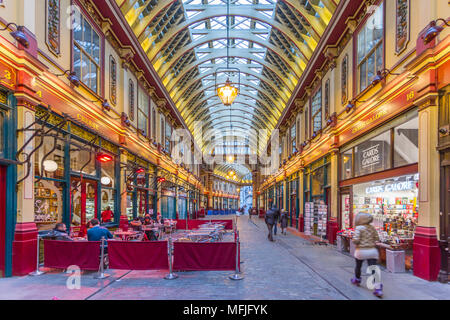 View of interior of Leadenhall Market, The City, London, England, United Kingdom, Europe - Stock Photo