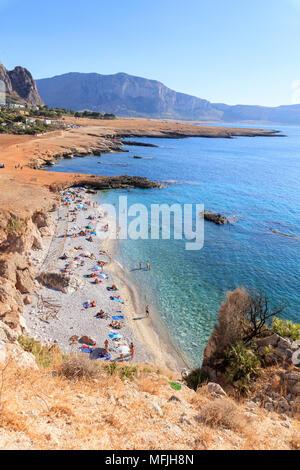Beach of Bue Marino, San Vito Lo Capo, province of Trapani, Sicily, Italy, Mediterranean, Europe - Stock Photo
