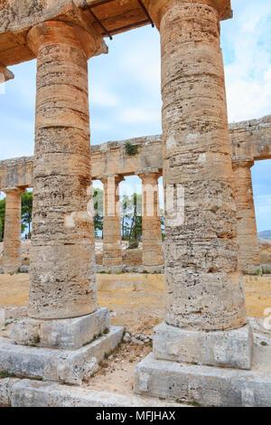 Columns of Temple of Segesta, Calatafimi, province of Trapani, Sicily, Italy, Europe - Stock Photo