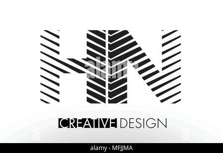 HN H N Lines Letter Design with Creative Elegant Zebra Vector Illustration. - Stock Photo