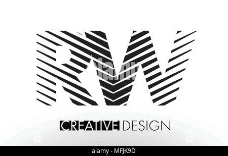 RW R W Lines Letter Design with Creative Elegant Zebra Vector Illustration. - Stock Photo