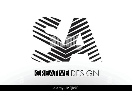 SA S A Lines Letter Design with Creative Elegant Zebra Vector Illustration. - Stock Photo