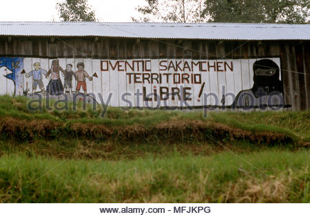 A mural on a building in Oventic, Chiapas State, Mexico proclaims the independence of the Zapatista movement. - Stock Photo