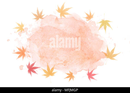 Japanese autumn maple leaf abstract on watercolor paint background - Stock Photo