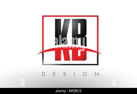 KB K B Logo Letters with Red and Black Colors and Swoosh. Creative Letter Design Vector. - Stock Photo