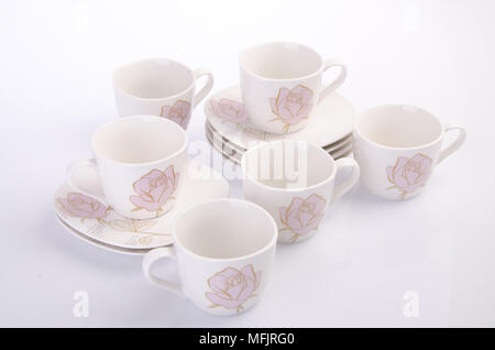 cups. collection coffee cups on white background - Stock Photo