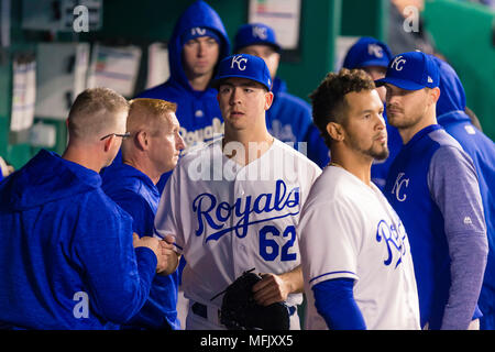 Kansas City, MO, USA. 25th Apr, 2018. Eric Stout #62 of the Kansas City Royals is removed from the game against the Milwaukee Brewers at Kauffman Stadium in Kansas City, MO. Kyle Rivas/Cal Sport Media/Alamy Live News - Stock Photo
