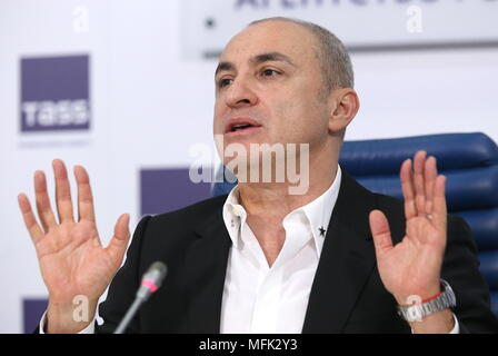 "MOSCOW, RUSSIA - APRIL 26, 2018: The head of M Turetsky Choir, Mikhail Turetsky, at a press conference at the Moscow office of the TASS News Agency about a series of free concerts titled 'Pesni Pobedy' ('Victory Songs') and ""Unity Songs"", featuring M Turetsky Choir and M Turetsky Soprano; this year, the annual project, which started in Moscow in 2015 and which is intended as a message of peace, envisages free concerts in Paris, Ljubljana, Vienna, Berlin, Minsk, Moscow, Tel Aviv, and New York City, 3 - 12 May, 2018, marking the 73rd anniversary of the Allied victory over Nazi Germany in WWII, i - Stock Photo"