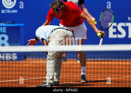 Barcelona, Spain. 26th Apr, 2018. Greek tennis player Stefanos Tsitsipas during the round of 16 match played against Spanish Albert Ramos at Barcelona Open Trofeo Conde de Godo in Barcelona, northeastern Spain, 26 April 2018. EFE/Alejandro Garcia Credit: EFE News Agency/Alamy Live News - Stock Photo