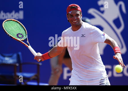 Barcelona, Barcelona, Spain. 26th Apr, 2018. 26th April 2018. Barcelona, Spain; Banc Sabadell Barcelona Open Tennis tournament; Malek Jaziri of Tunes during the Round 3 of the tournament Credit: Eric Alonso/ZUMA Wire/Alamy Live News - Stock Photo