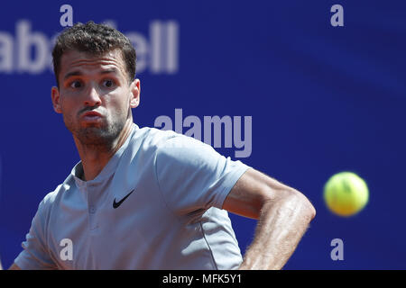 Barcelona, Barcelona, Spain. 26th Apr, 2018. 26th April 2018. Barcelona, Spain; Banc Sabadell Barcelona Open Tennis tournament; Grigor Dimitrov of Bulgaria during the Round 3 of the tournament Credit: Eric Alonso/ZUMA Wire/Alamy Live News - Stock Photo