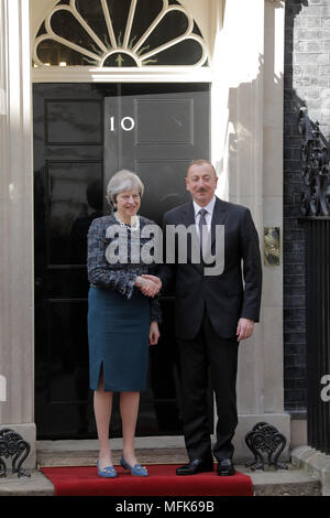 London, UK. 26th April 2018. British Prime Minister, Theresa May welcomes the President of the Republic of Azerbaijan, Ilham Aliyev, to Downing Street, London, UK Credit: Chris Aubrey/Alamy Live News - Stock Photo