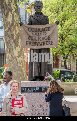 London, UK. 26th Apr, 2018. Labour Party local election campaigners pose for a selfie - 8ft 4in bronze statue of the suffragist campaigner Millicent Fawcett is now in the shadow of the Houses of Parliament following a campaign led by Criado-Perez. It was created by Turner prize-winning artist Gillian Wearing, and shows Fawcett when she became president of the National Union of Women's Suffrage Societies. Credit: Guy Bell/Alamy Live News - Stock Photo