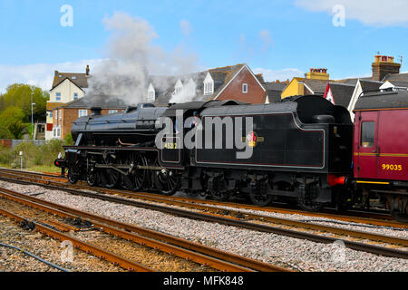 Weymouth, Dorset, UK.  26th April 2018.  The Great Britain XI excursion train hauled by steam locomotives 45212, pictured at the rear of the train, and 31806 at the front of the train, not pictured, arrives at Weymouth Station at the Dorset leg of the 9 day round Britain trip.  Picture Credit: Graham Hunt/Alamy Live News - Stock Photo