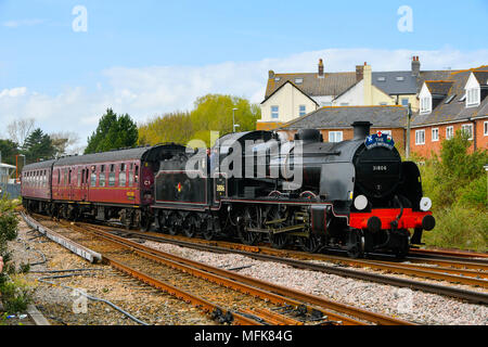 Weymouth, Dorset, UK.  26th April 2018.  The Great Britain XI excursion train hauled by steam locomotives 31806, pictured at the front of the train, and 45212 at the rear of the train, not pictured, arrives at Weymouth Station at the Dorset leg of the 9 day round Britain trip.  Picture Credit: Graham Hunt/Alamy Live News - Stock Photo