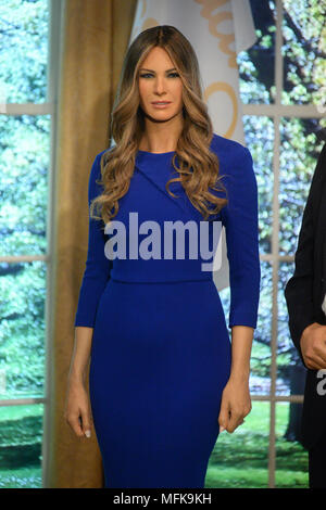 New York, USA. 26th Apr, 2018. Madame Tussauds Melania Trump figure at the launch of the 'Give Melania A Voice' Experience at Madame Tussauds on April 25, 2018 in New York City. Credit: Erik Pendzich/Alamy Live News - Stock Photo