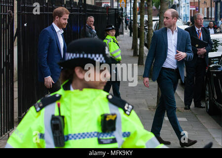 London, UK. 26th April, 2018. Prince William and Prince Harry leave after officially opening the Greenhouse Centre in a Grade II* listed church in Marylebone. The centre, run by Greenhouse Sports, will provide a safe environment for sport, coaching and social facilities for young people in the local community with the aim of improving their future life outcomes and raising their aspirations. Greenhouse Sports was the first delivery partner in London for Coach Core, the national coaching apprenticeship scheme run by the Royal Foundation. Credit: Mark Kerrison/Alamy Live News - Stock Photo