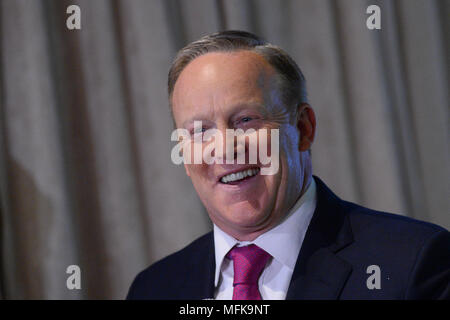 New York, USA. 26th Apr, 2018. Former White House Press Secretary Sean Spicer answers a few questions from the press at Madame Tussauds wax museum, April 25, 2018 in New York City. Credit: Erik Pendzich/Alamy Live News - Stock Photo