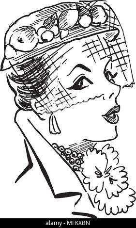 Lady's Hat - Retro Clipart Illustration - Stock Photo