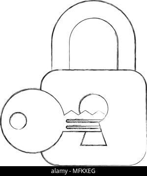 cyber security padlock and key on keyhole - Stock Photo